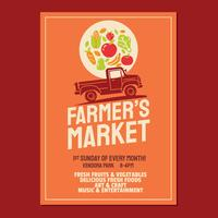 Farmer's Market Flyer Poster Invitation Template Based On Old Style Farmer's Pickup Truck vector