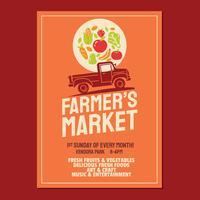 La plantilla de la invitación del cartel del folleto del mercado del granjero basada en la camioneta del granjero del viejo estilo
