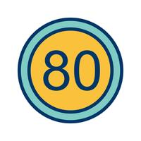Vector Speed limit 80 Icon