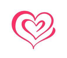 Due segni del cuore di amore. Romantico. Simbolo dell'icona dell'illustrazione di vettore - unisca la passione e le nozze. Modello per maglietta, carta, poster. Design piatto elemento San Valentino