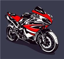 Röd sportmotorcykel
