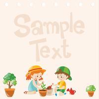 Design de papel com crianças plantando árvores