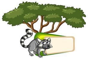 Plantilla de banner con lemur bajo el árbol