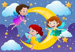 Three fairies flying over the moon