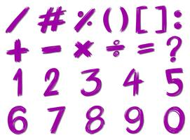 Numbers and signs in purple color