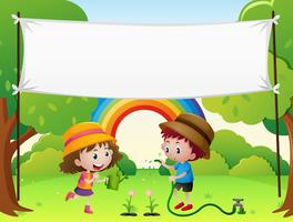Banner template with kids watering plants