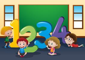 Counting numbers with kids in classroom