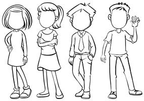 Faceless people in black and white vector