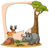 Plantilla de marco con animales salvajes