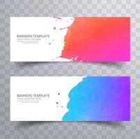 Beautiful soft colorful watercolor header set vector