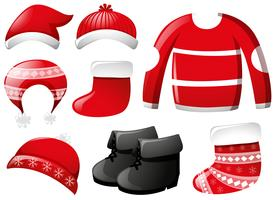 Winter clothes in red
