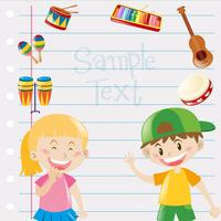 Paper design with kids and musical instruments