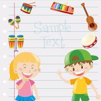Diseño de papel con niños e instrumentos musicales.