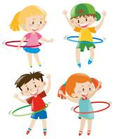 Children playing hula hoops