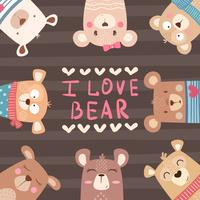 Cute winter Bear characters vector