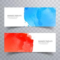 Abstract colorful watercolor header set design