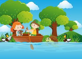 Menino menina, barco remando, em, rio