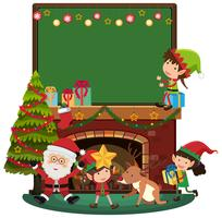 Boad template with Santa and three elves by the fireplace
