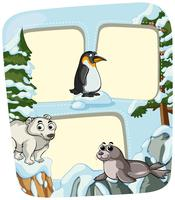 Paper template with animals in winter