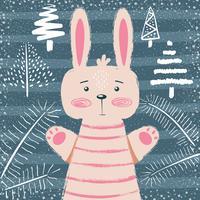 Rabbit characters. Cute winter illustration.
