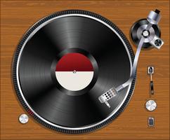 Grammofon vinylspelare spelar rekord