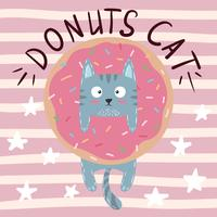 Cute, cool, pretty, funny, crazy, beautiful cat, kitty with donut vector