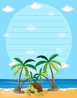 Plantilla de papel con tortuga en el fondo de la playa
