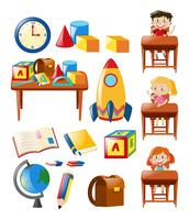 Students and school objects set
