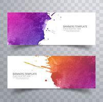 Cabeçalho de aquarela colorido abstrato conjunto vector