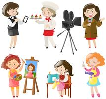 Frauen, die verschiedene Arten von Jobs erledigen