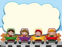 Border template with four kids in the cars
