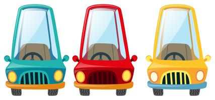 Carros em três cores diferentes