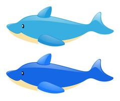 Two blue dolphins on white background