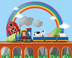 Farmer and animals riding on the train vector
