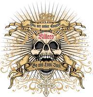 aggressive emblem with skull vector