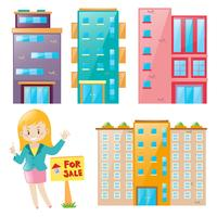 Real estate agent and many building set