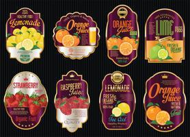 Set med ekologisk frukt retro vintage guld etiketter samling