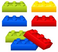 Toy brick pieces in many colors