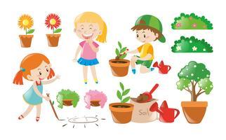 Niño y niña haciendo trabajos de jardinería