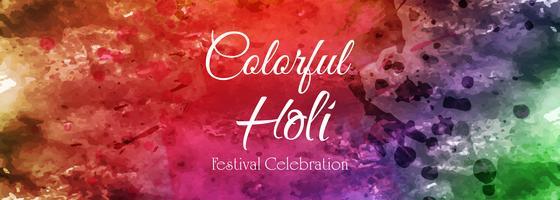 Tambour de bannière coloré holi heureux célébration