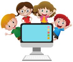 Four happy children behind computer screen
