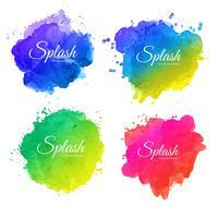 Beautiful soft watercolor splash set design