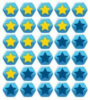 Klistermärke design för gula stjärnor på blå hexagon