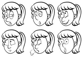 Woman and six different emotions