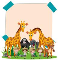 Paper template with wild animals and kids