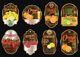 Set of organic fruit retro vintage golden labels collection