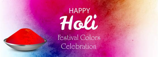 Colorido feliz holi celebração banner modelo de design