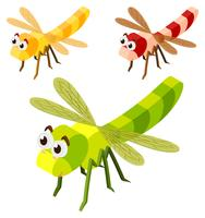 Three dragonflies in 3D design