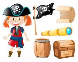 Chica en traje de pirata y elementos piratas.
