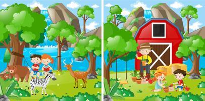Dos escenas de granja con niños y granjero.